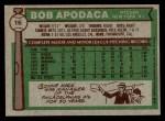 1976 Topps #16  Bob Apodaca  Back Thumbnail