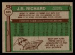 1976 Topps #625  J.R. Richard  Back Thumbnail