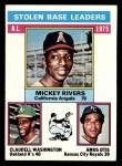 1976 Topps #198   -  Mickey Rivers / Claudell Washington / Amos Otis AL SB Leaders   Front Thumbnail