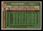 1976 Topps #281  Dave May  Back Thumbnail