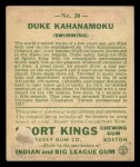1933 Goudey Sport Kings #20  Duke Kahanamoku   Back Thumbnail