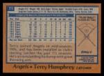 1978 Topps #71  Terry Humphrey  Back Thumbnail