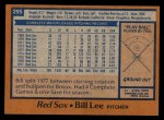 1978 Topps #295  Bill Lee  Back Thumbnail
