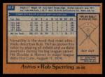 1978 Topps #514  Rob Sperring  Back Thumbnail