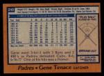 1978 Topps #240  Gene Tenace  Back Thumbnail