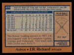 1978 Topps #470  J.R. Richard  Back Thumbnail