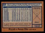 1978 Topps #490  Amos Otis  Back Thumbnail