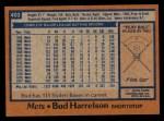 1978 Topps #403  Bud Harrelson  Back Thumbnail