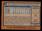 1978 Topps #152  Ivan DeJesus  Back Thumbnail