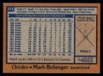 1978 Topps #315  Mark Belanger  Back Thumbnail
