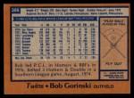 1978 Topps #386  Bob Gorinski  Back Thumbnail