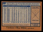 1978 Topps #16  Roy White  Back Thumbnail