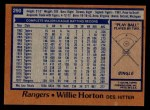 1978 Topps #290  Willie Horton  Back Thumbnail