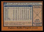 1978 Topps #140  Rollie Fingers  Back Thumbnail