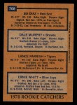1978 Topps #708   -  Dale Murphy / Bo Diaz / Lance Parrish / Ernie Whitt Rookie Catchers   Back Thumbnail