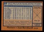 1978 Topps #698  Juan Bernhardt  Back Thumbnail