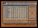 1978 Topps #199  Craig Reynolds  Back Thumbnail