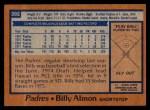 1978 Topps #392  Billy Almon  Back Thumbnail