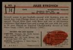 1953 Bowman #74  Jules Rykovich  Back Thumbnail