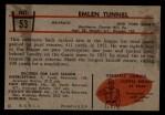 1953 Bowman #53  Emlen Tunnel  Back Thumbnail