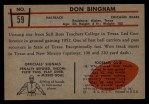 1953 Bowman #59  Don Bingham  Back Thumbnail