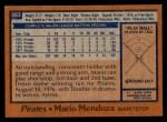 1978 Topps #383  Mario Mendoza  Back Thumbnail
