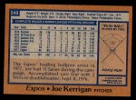 1978 Topps #549  Joe Kerrigan  Back Thumbnail