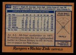 1978 Topps #110  Richie Zisk  Back Thumbnail