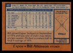 1978 Topps #43  Bill Atkinson  Back Thumbnail