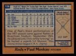 1978 Topps #126  Paul Moskau  Back Thumbnail