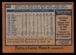 1978 Topps #601  Gene Mauch  Back Thumbnail