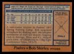 1978 Topps #266  Bob Shirley  Back Thumbnail