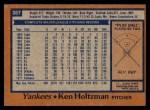 1978 Topps #387  Ken Holtzman  Back Thumbnail