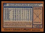 1978 Topps #538  Johnnie LeMaster  Back Thumbnail