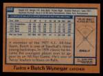 1978 Topps #555  Butch Wynegar  Back Thumbnail