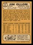 1968 Topps #91  Jim Ollom  Back Thumbnail