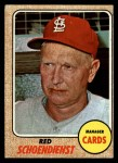 1968 Topps #294  Red Schoendienst  Front Thumbnail