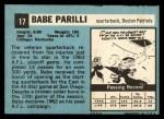 1964 Topps #17  Babe Parilli  Back Thumbnail