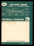1960 Topps #94  John Henry Johnson  Back Thumbnail