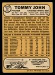 1968 Topps #72  Tommy John  Back Thumbnail