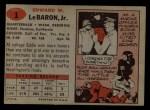 1957 Topps #1  Eddie LeBaron  Back Thumbnail