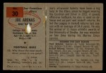 1954 Bowman #30  Joe Arenas  Back Thumbnail