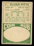 1968 Topps #79  Elijah Pitts  Back Thumbnail