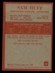 1965 Philadelphia #187  Sam Huff   Back Thumbnail