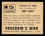 1950 Topps Freedoms War #126   Army Cadets  Back Thumbnail