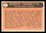 1966 Topps #552  Birdie Tebbetts  Back Thumbnail