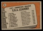 1972 Topps #92   -  Vida Blue / Jim Palmer / Wilbur Wood AL ERA Leaders   Back Thumbnail