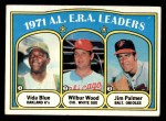 1972 Topps #92   -  Vida Blue / Jim Palmer / Wilbur Wood AL ERA Leaders   Front Thumbnail