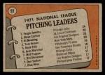 1972 Topps #93   -  Steve Carlton / Al Downing / Fergie Jenkins / Tom Seaver NL Pitching Leaders   Back Thumbnail