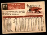 1959 Topps #517  Joe Koppe  Back Thumbnail